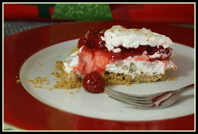 """Cream Cheese Cherry Dessert. A container of Cool Whip, some cream cheese and a can of Cherry Pie Filling and you've got a """"can't stop eating"""" dessert."""