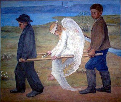 Хуго Симберг, фреска «Раненый ангел», собор Тампере, Финляндия