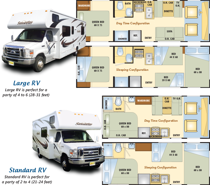 RV Floorplans  Off to See the World  Motorhome rentals