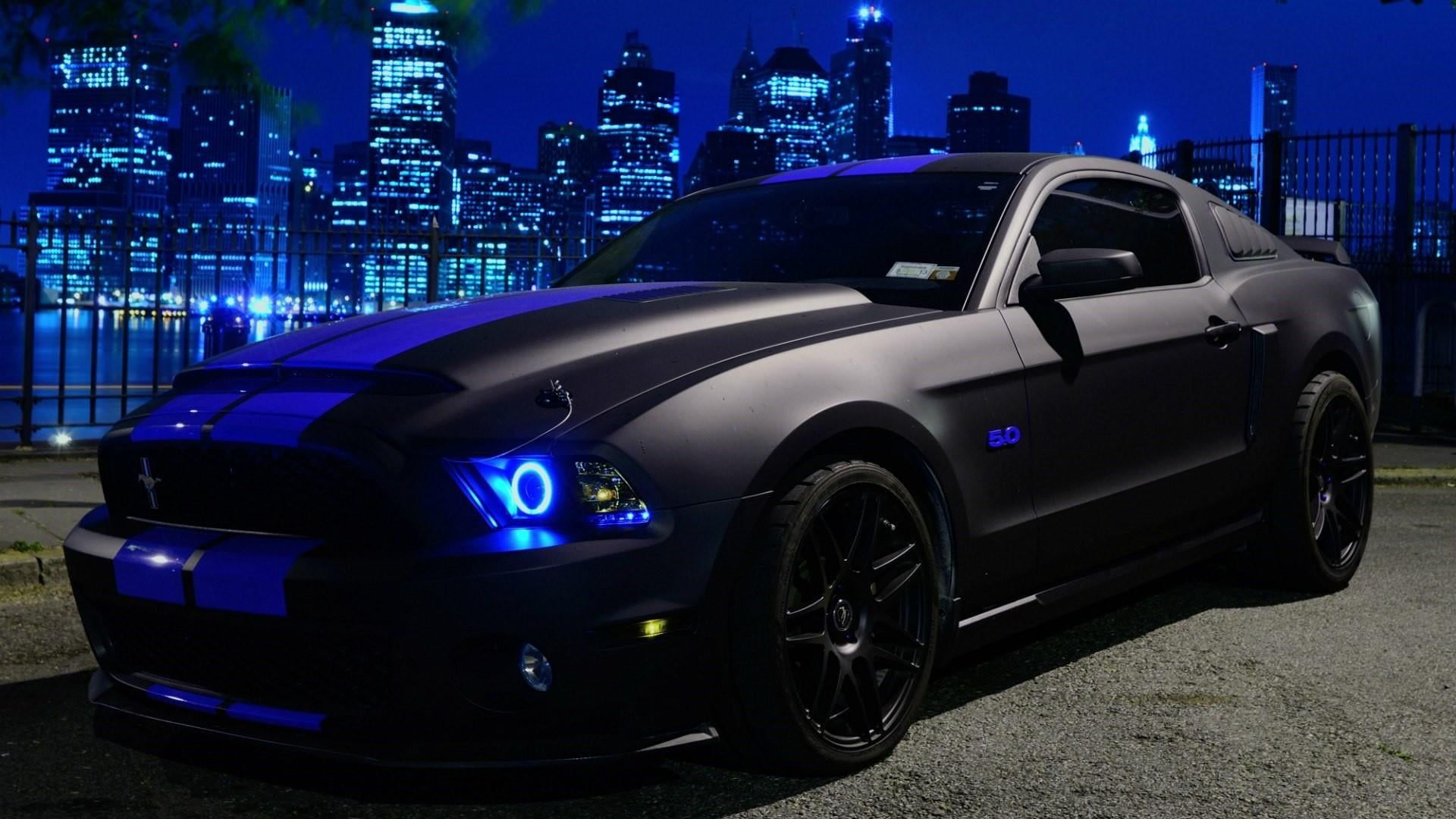 Black Car Car Vehicle Ford Mustang Night City Lights Sports Car Muscle Car Supercar Automotive Exterior Ford Matte Mustang Shelby Shelby Gt Ford Mustang