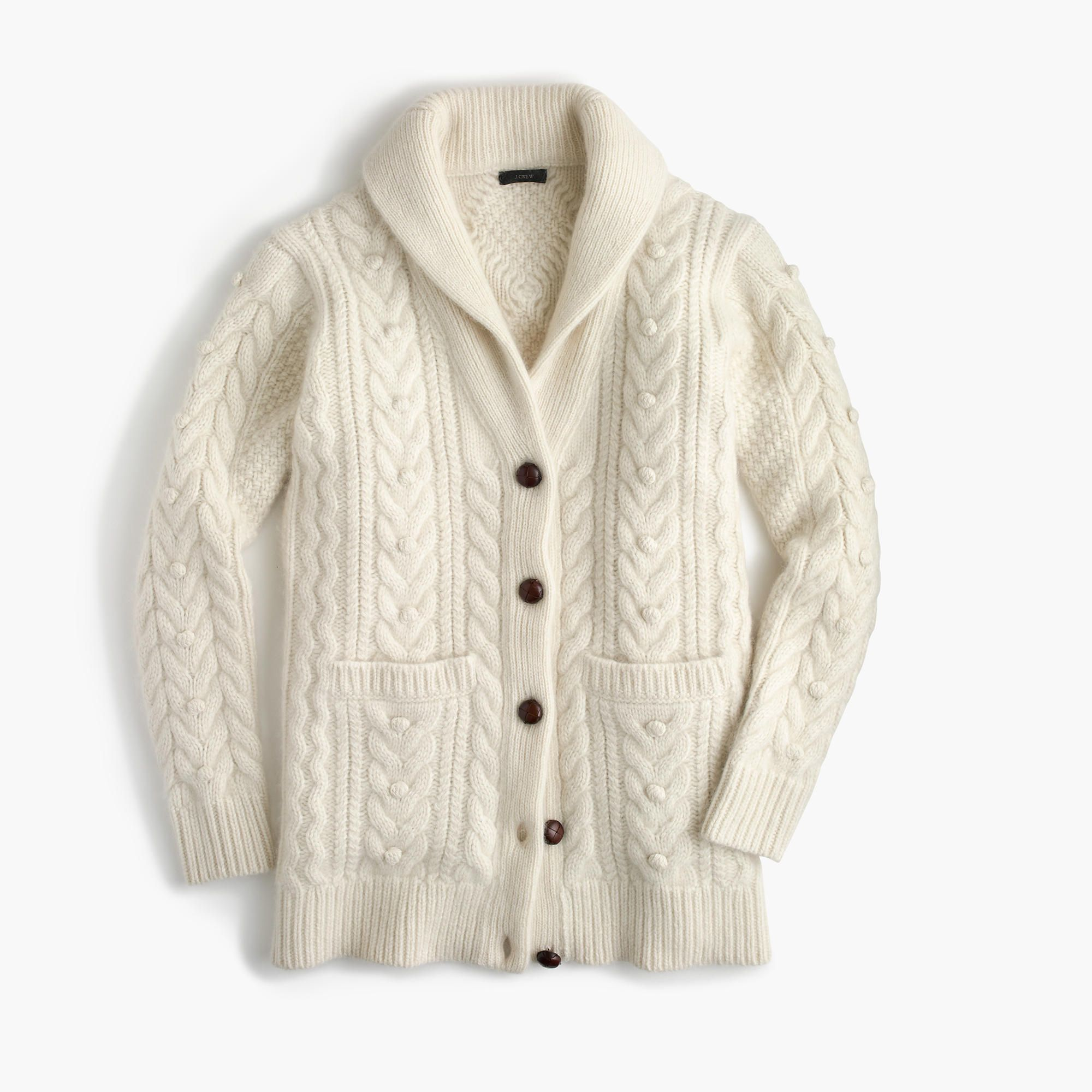 J. Crew Warm Ivory Cashmere-Mohair Blend Cable Cardigan Sweater ...