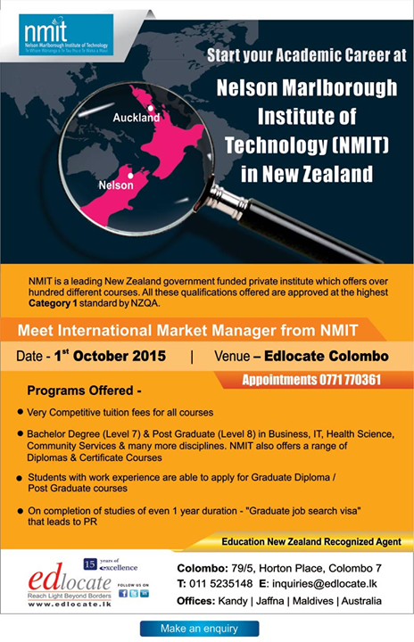 Study At Nmit New Zealand Study New Zealand International Market