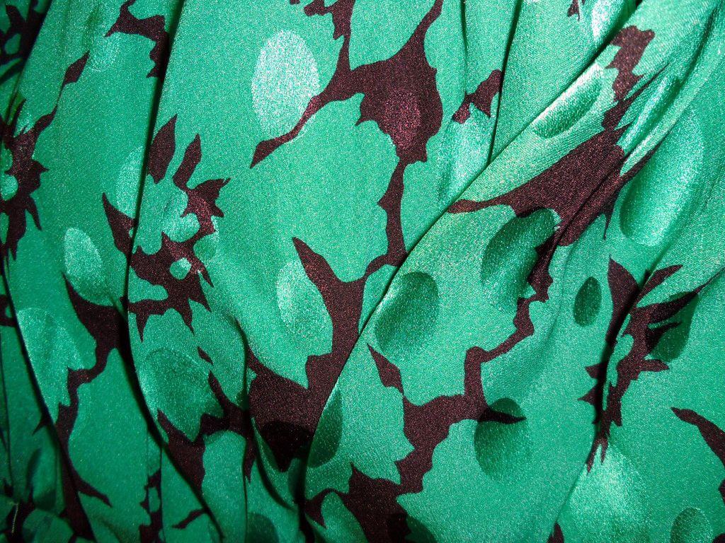Bill Blass - Robe Bustier - Soie Noir et Vert - Années 80