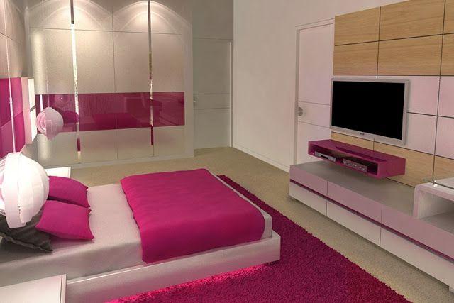 Dormitorio juvenil fucsia y blanco para estudiante for Alcobas juveniles modernas