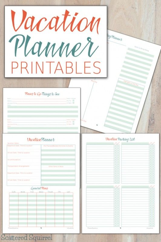 vacation planner printables household notebook pinterest