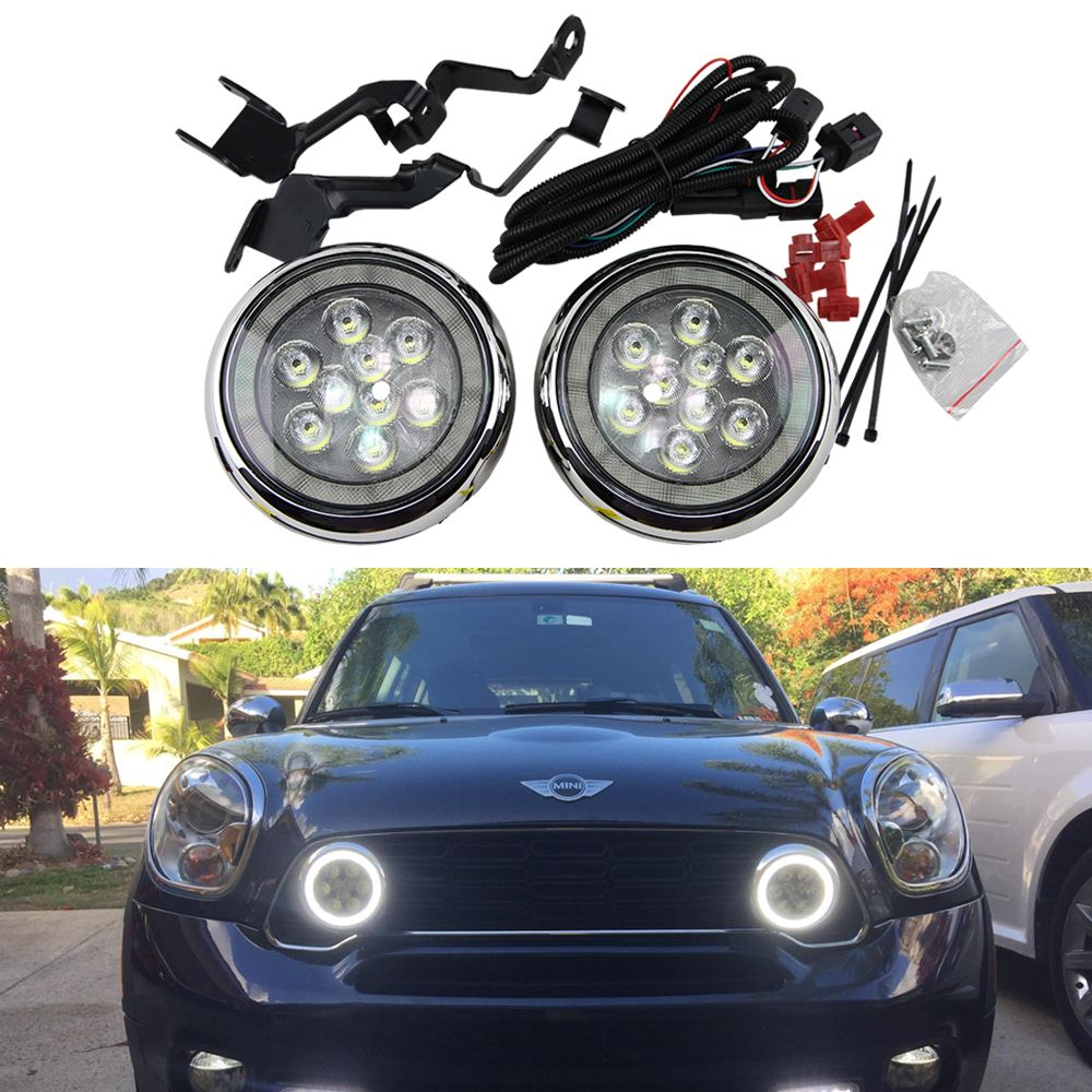 2x Halo Led Daytime Running Lights Angel Eye Rally Light For Mini