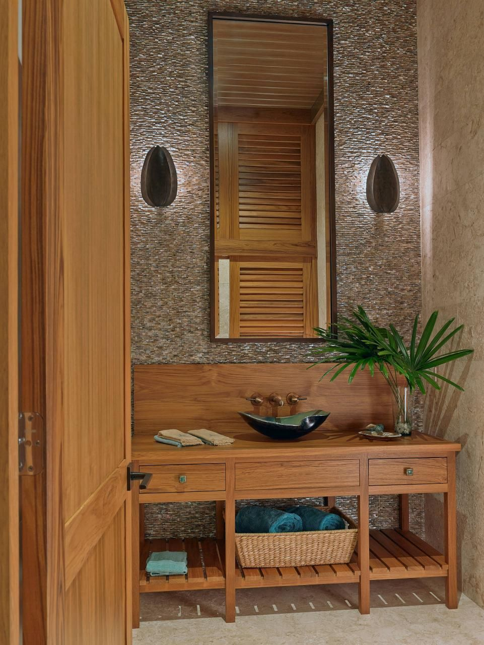 Teak Vanity, Slatted Wood Bottom Shelf, Stained Wood Door