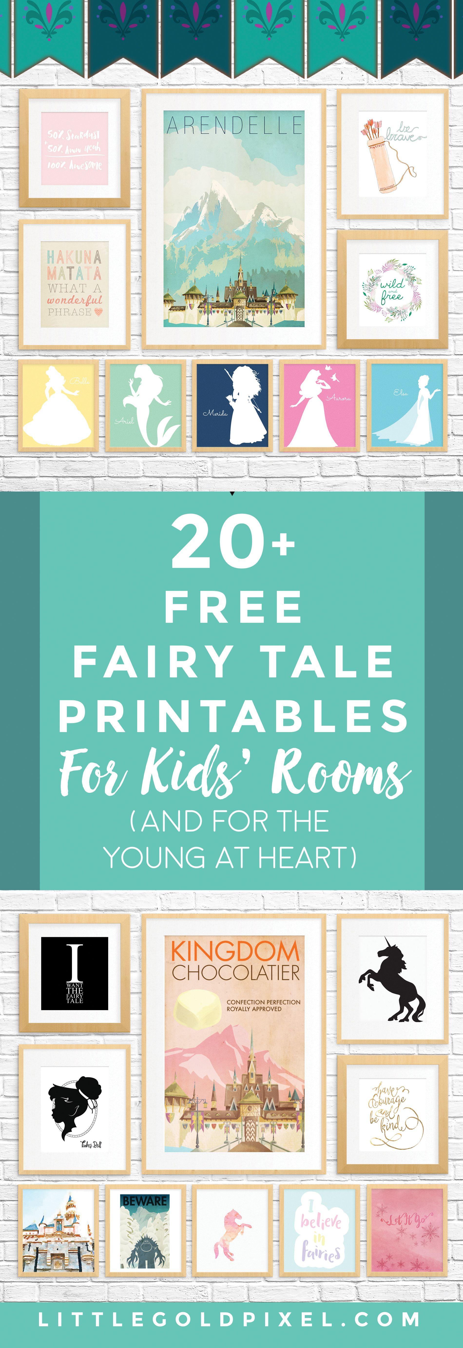 20 free fairy tale printables for kids rooms and for adults who are young at - Printable Art For Kids