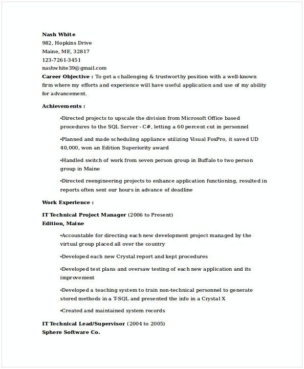 IT Technical Project Manager Resume , IT Operations Manager Resume - technical lead resume