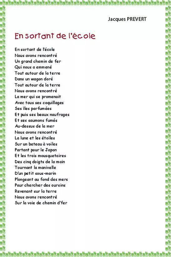 Poeme Prevert Prevert Jacques Poesie Rentree Poesie Ecole