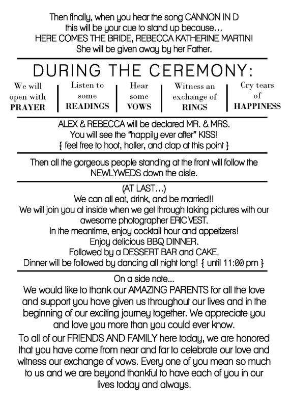 Rustic wedding program template - DIY wedding program - casual wedding program -  Funny wedding program - Outdoor wedding - corjl