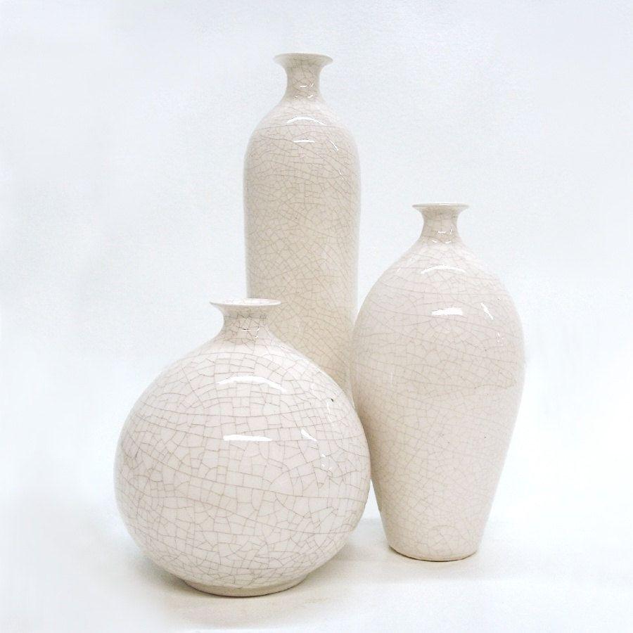 Set of 3 white modern minimal small Ceramic Bottle Vases bottles