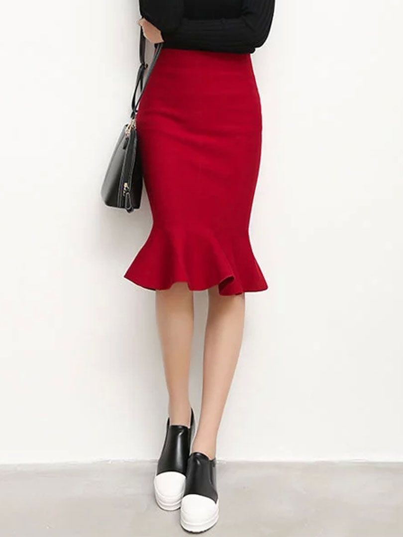 Wine Red High Waist Trumpet Hem Midi Skirt High Fashion Street Style Trumpet Skirt Outfit Fashion