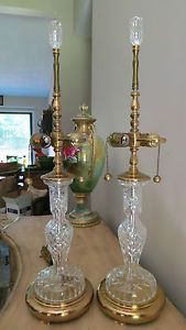 Pair Of Signed Waterford Crystal Table Lamps W Signed Waterford