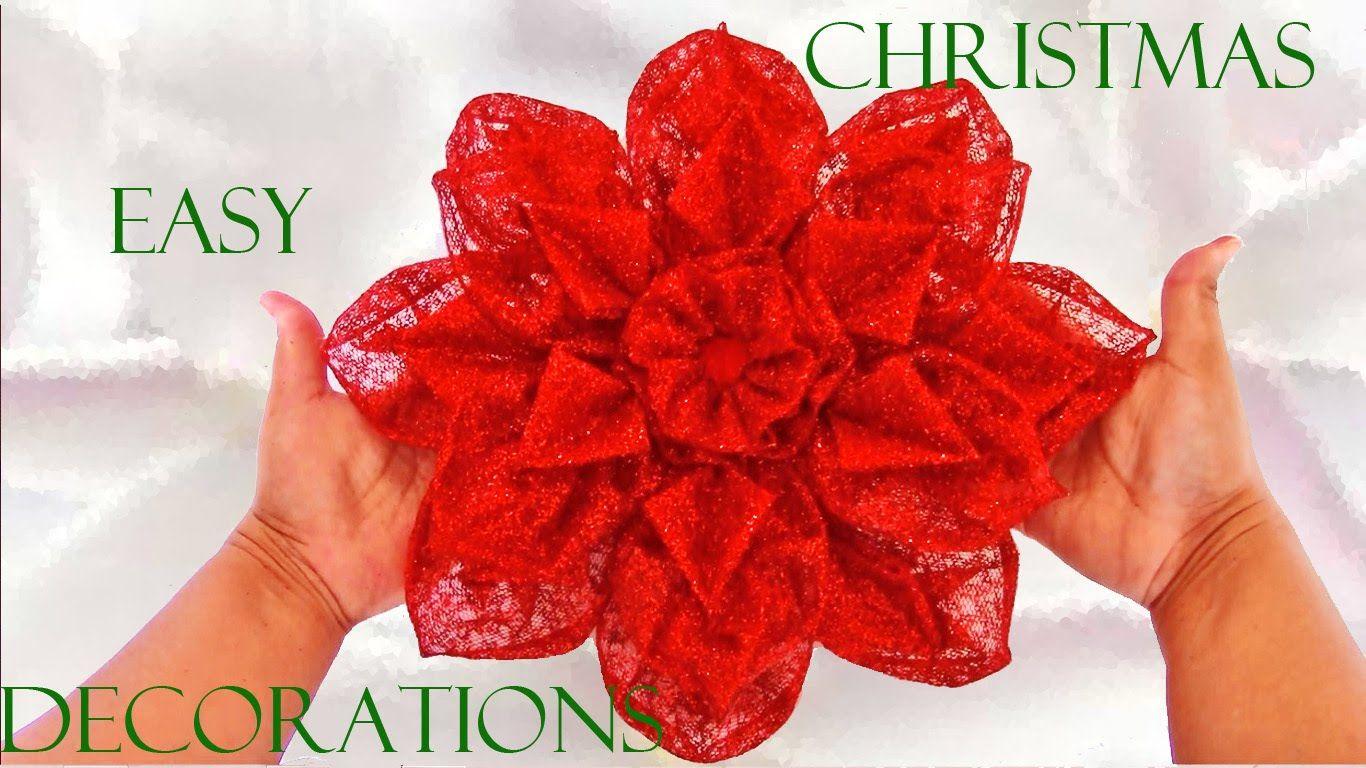 Como Hacer Flores Navideñas How To Make Christmas Bows Como Hacer Flores Cómo Hacer Moños Navideños Flor De Noche Buena
