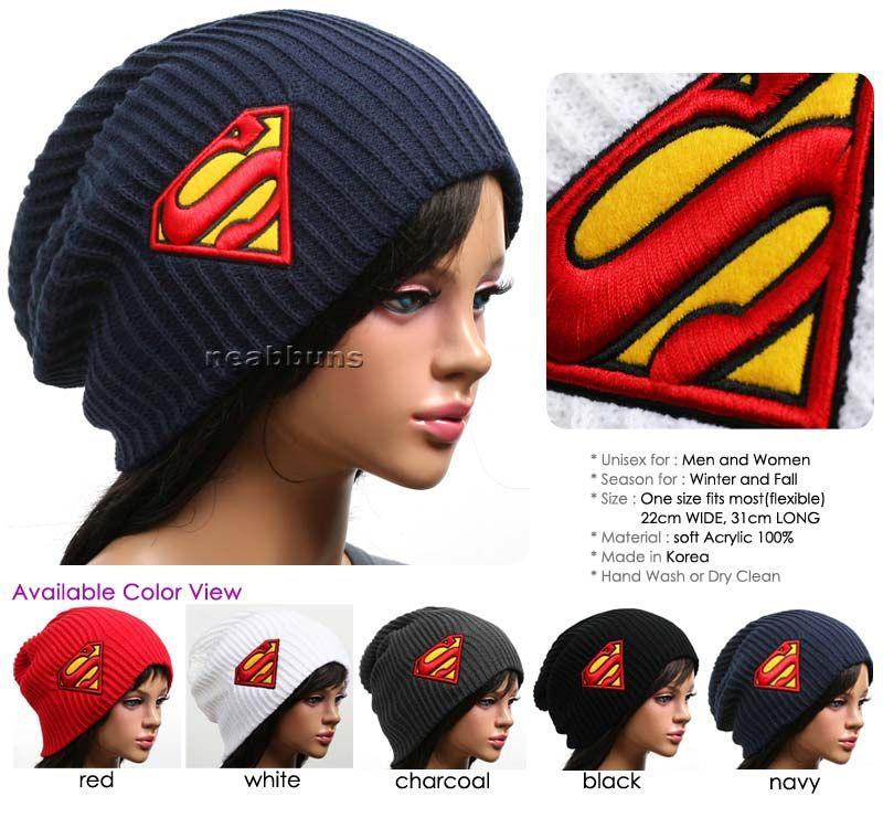 Superman Beanie Hat Winter Cap Ski Knit Bsup  5a5ca6bc5e2