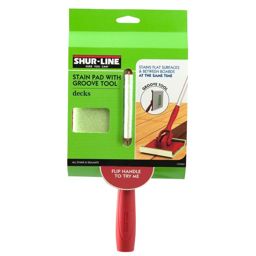 Shur Line 6 In X 3 In Deck Stain Pad With Groove Tool