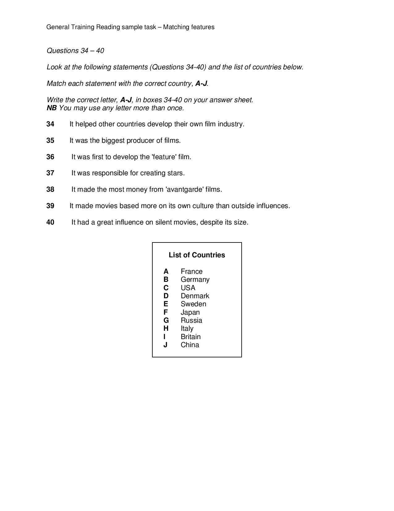 General Training Reading sample task – Matching features