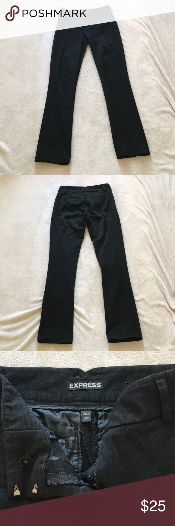 """EXPRESS Columnist Fit Pants These are a well loved pair of Express Columnist fit pants Fitted through the hip and thigh Size runs large fits like a 25"""" waist, inseam is 30"""" In great condition aside from damage to the bottom of the pants from stepping on them Fabric never looks faded great quality work pants Make me an offer! Express Pants Straight Leg"""