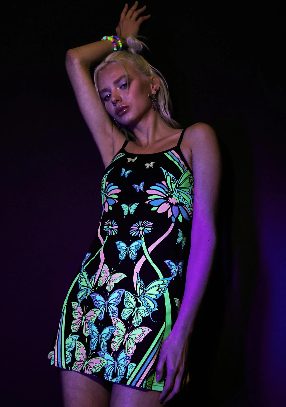 Sonic Synergy Glow In The Dark Dress Dark Dress Tie Dye Mini Dress Printed Mini Dress [ 1423 x 1000 Pixel ]