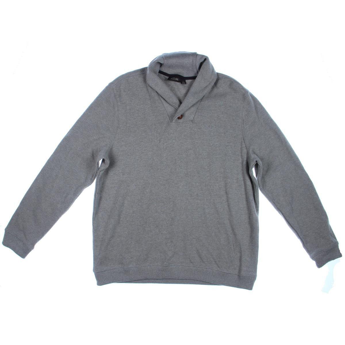 Tasso Elba Mens Cotton Ribbed Trim Shawl-Collar Sweater
