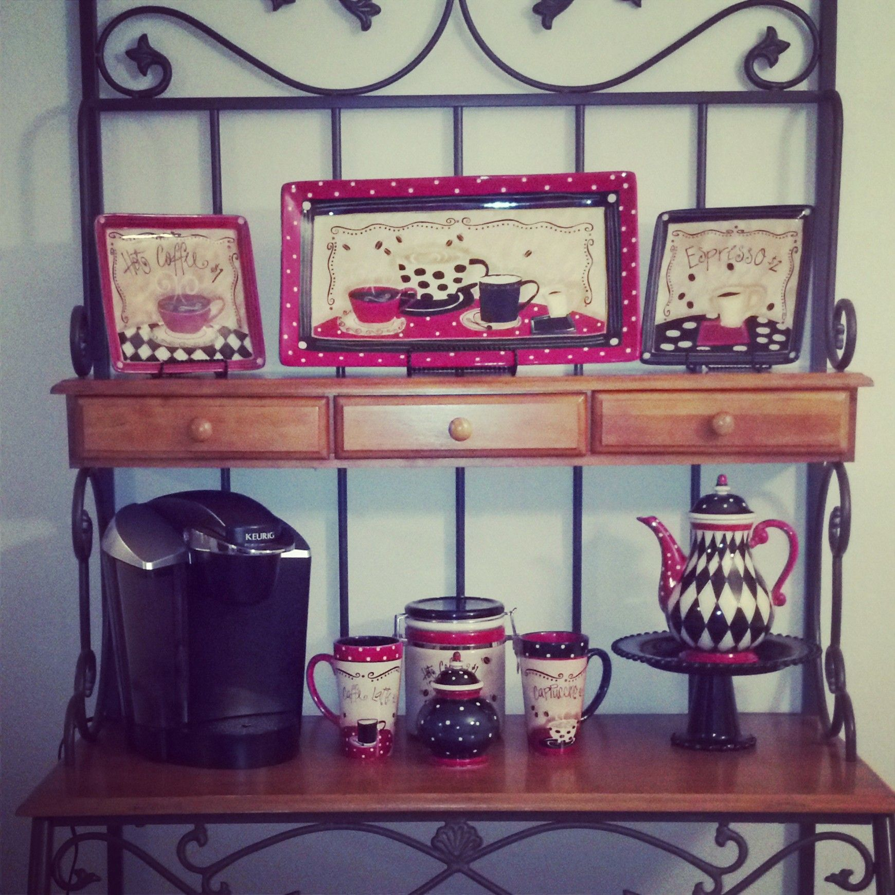 my coffee themed kitchen! love the bakers rack!! thank you hobby