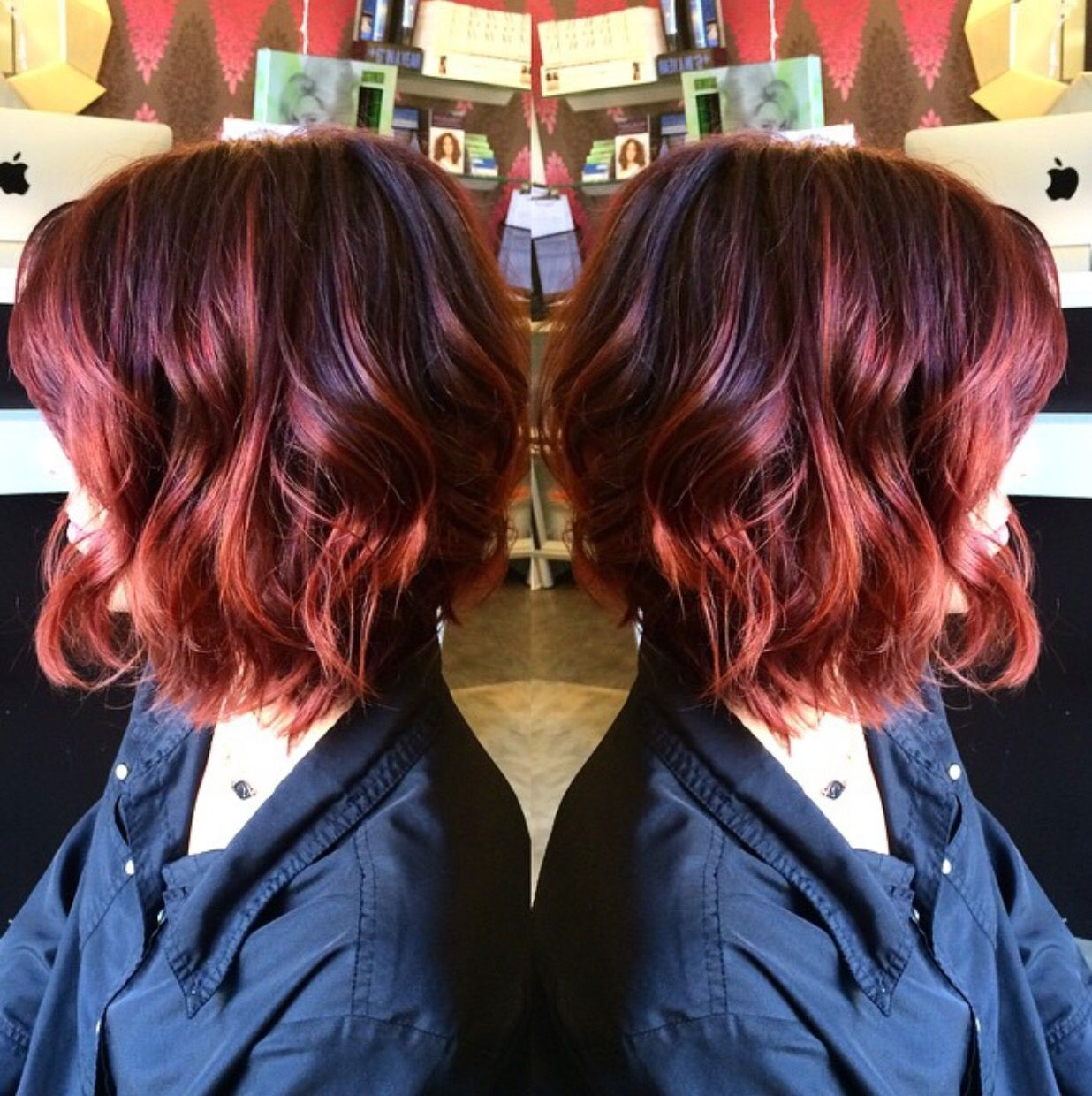Cool to warm red Violet Red to copper lob long bob by our stylist
