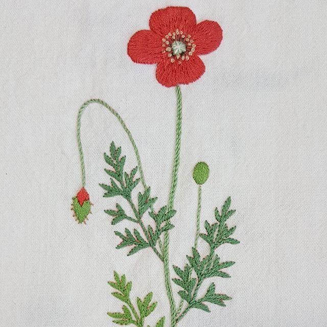 Poppy  #프랑스자수 #자수 #꽃자수 #바느질 #꽃#정성#가리개#커튼#아오키카즈코 #정원꽃자수 #embroidery #sewing…