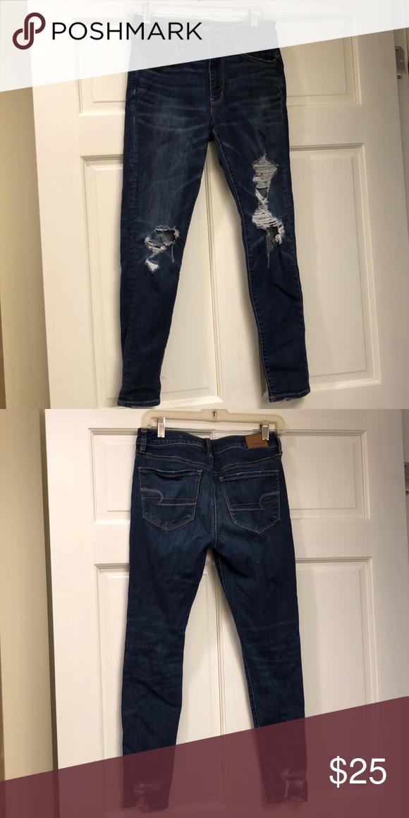 American Eagle Hi Rise Jegging Jeans Dark Ripped Regular Inseam 29 Inches
