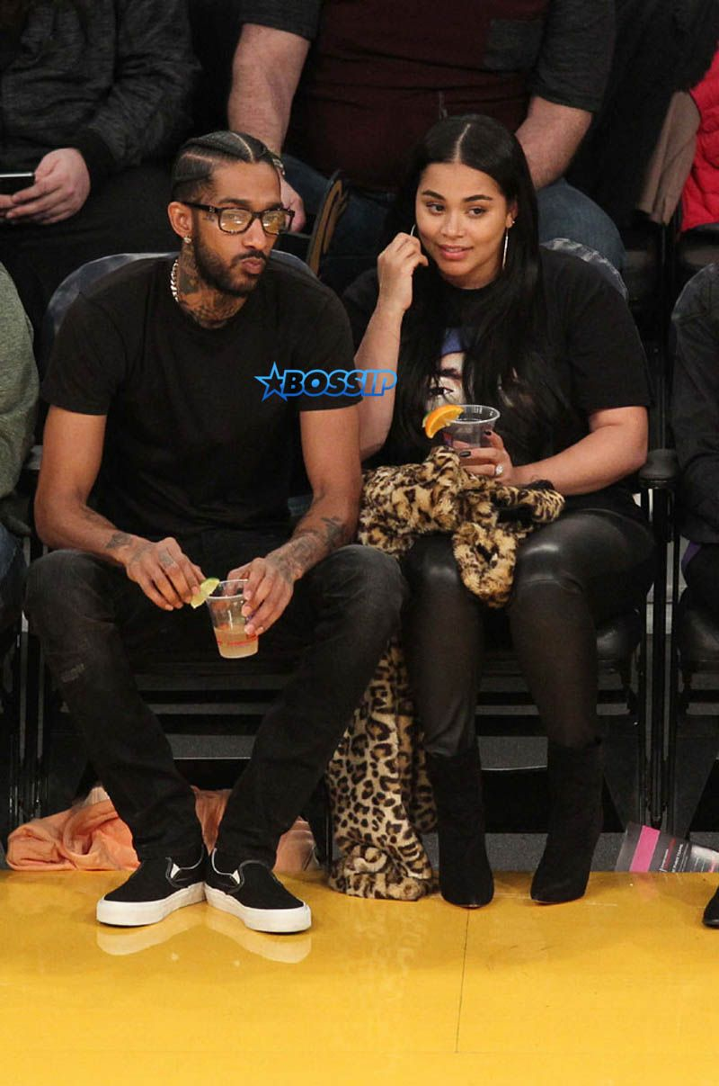 Nipsey Hussle and Lauren London seen out at the Lakers vs ...