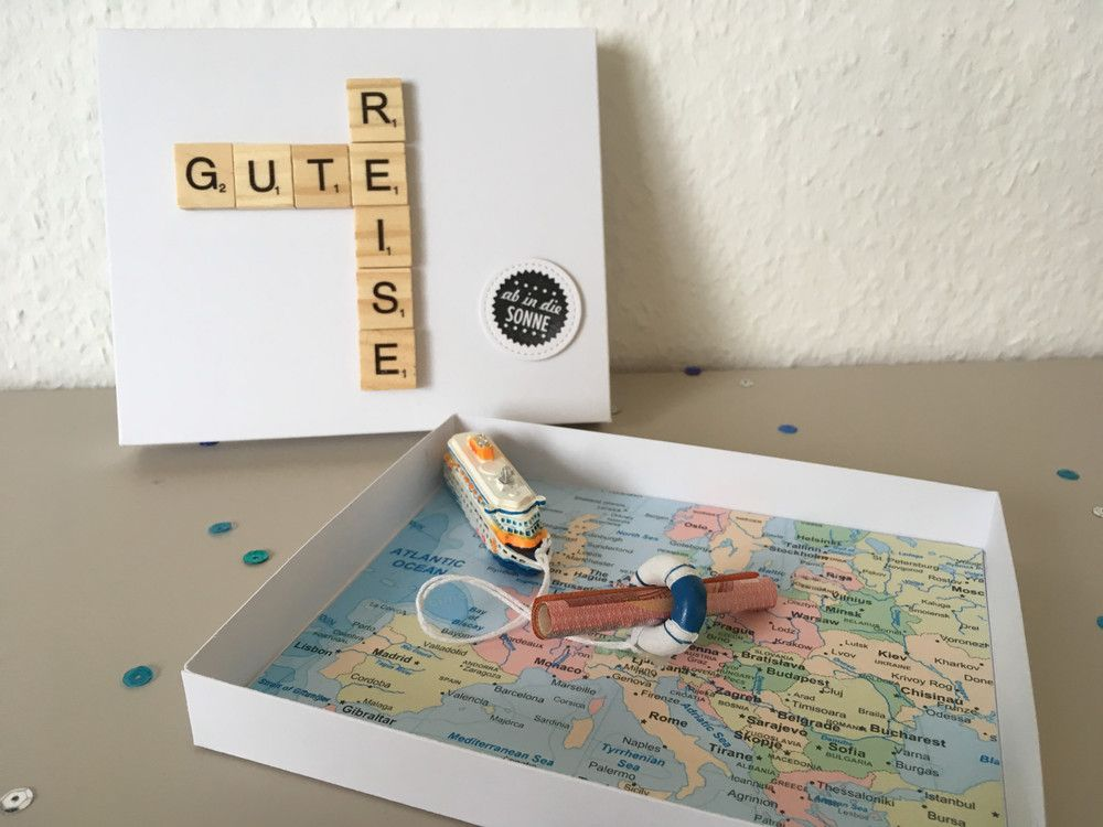 itenga Geldgeschenk Verpackung Kreuzfahrt Reise Gutschein Urlaub Schiff Karte