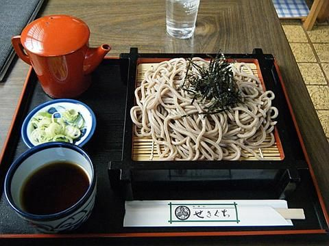 Chilled soba noodles with nori   (price soup, the Welsh onion and Japanese horseradish of spice, hot water for boiling soba)