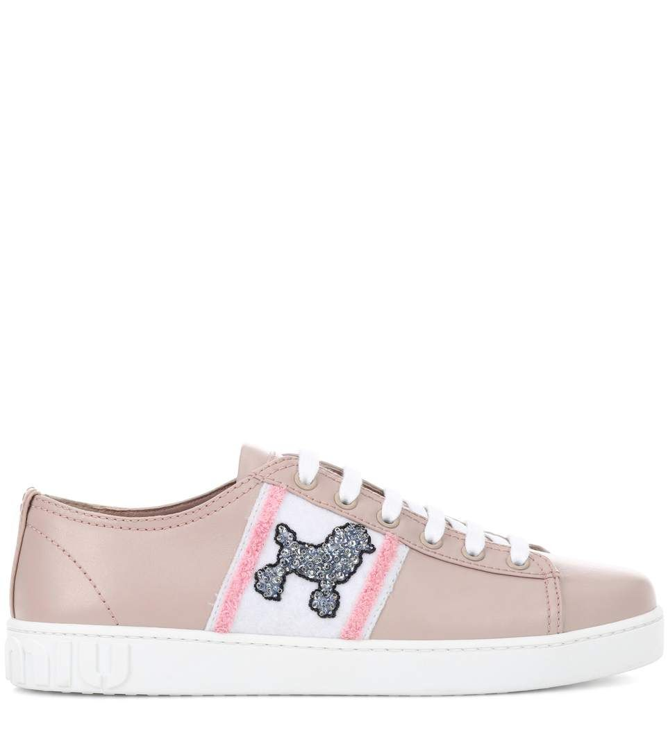 Exclusive to mytheresa.com - embellished leather sneakers Miu Miu E4lvbZ