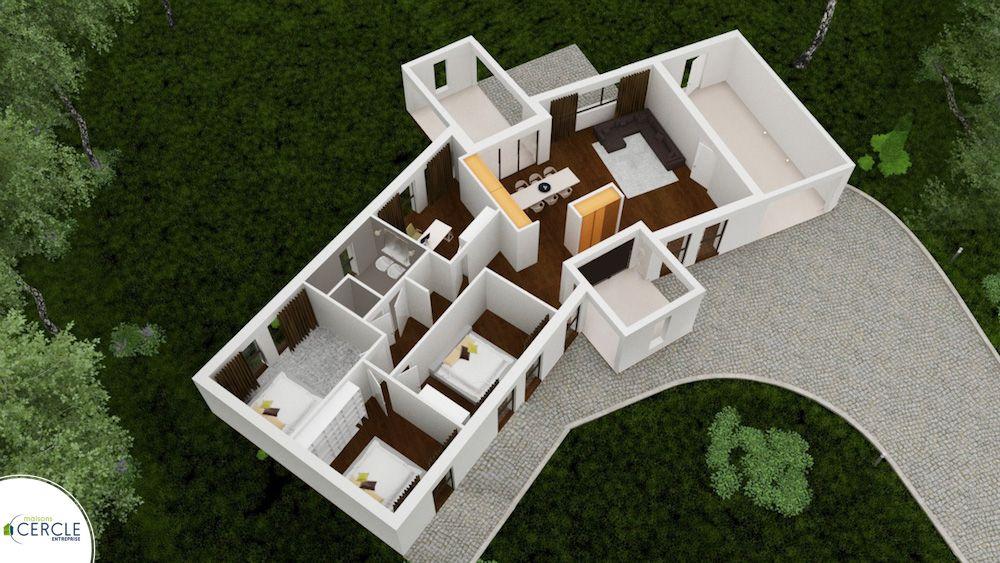 Maison Contemporaine Et Moderne Avec Plan En V  Plan Maison