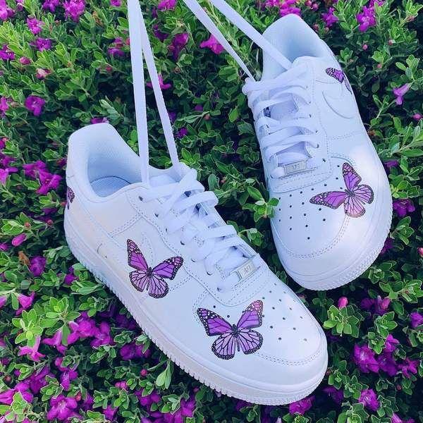 Purple Butterfly AF1 in 2020   Butterfly shoes, Sneakers