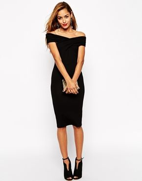 f448f689be29 ASOS Bodycon Dress with Bardot Shoulder and Cross Front Detail ...