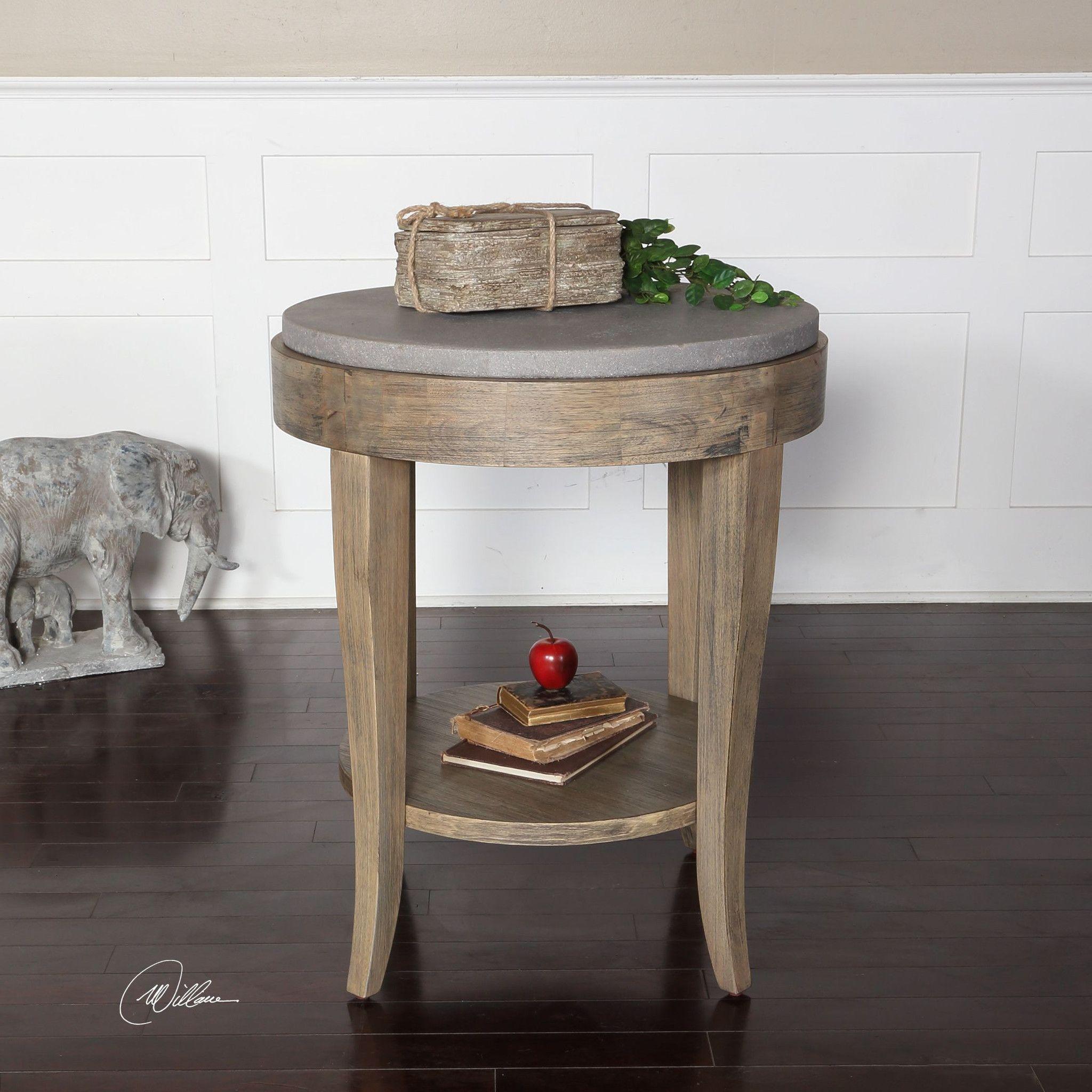 Deka Round Accent Table Birch / Concrete