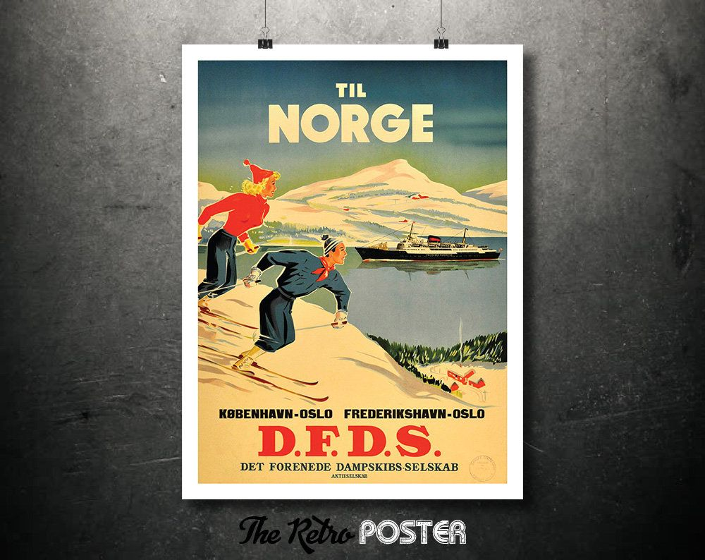 Til Norge - Skiing In Norway - by D.F.D.S. Ferry From Denmark ...