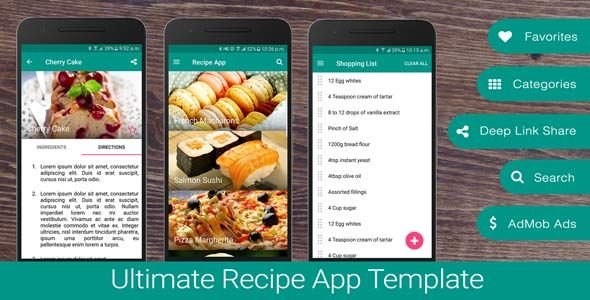 Free Download Ultimate Recipe App Template - Codecanyon 18368255