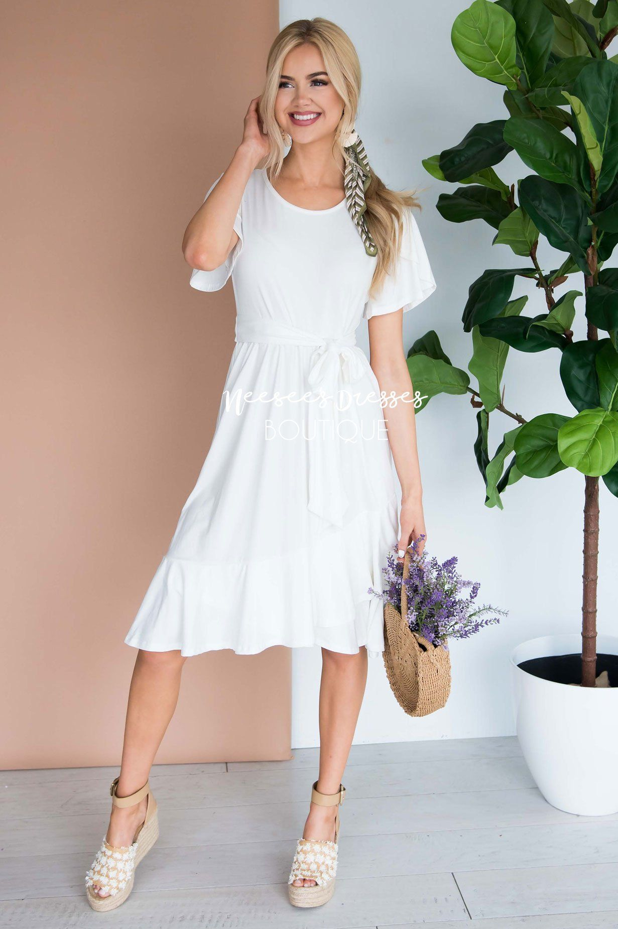 White Tulip Sleeve Ruffle Dress Best Place To Buy Modest Dress Online Modest Dresses And Skirts For Church Neese Modest Dresses White Short Dress Dresses [ 1850 x 1231 Pixel ]