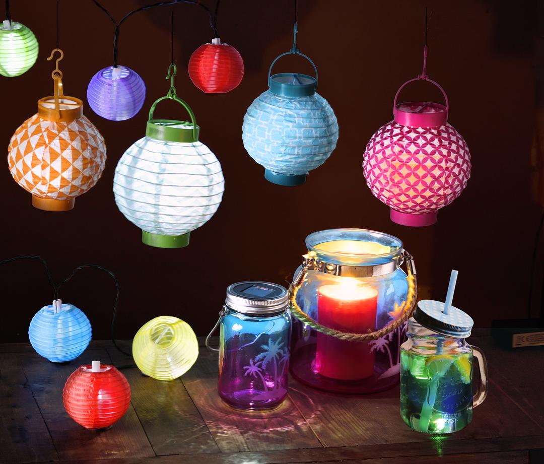Luminaires color s lanterne led guirlande solaire 10 - Guirlande porte photo avec pinces linge ...