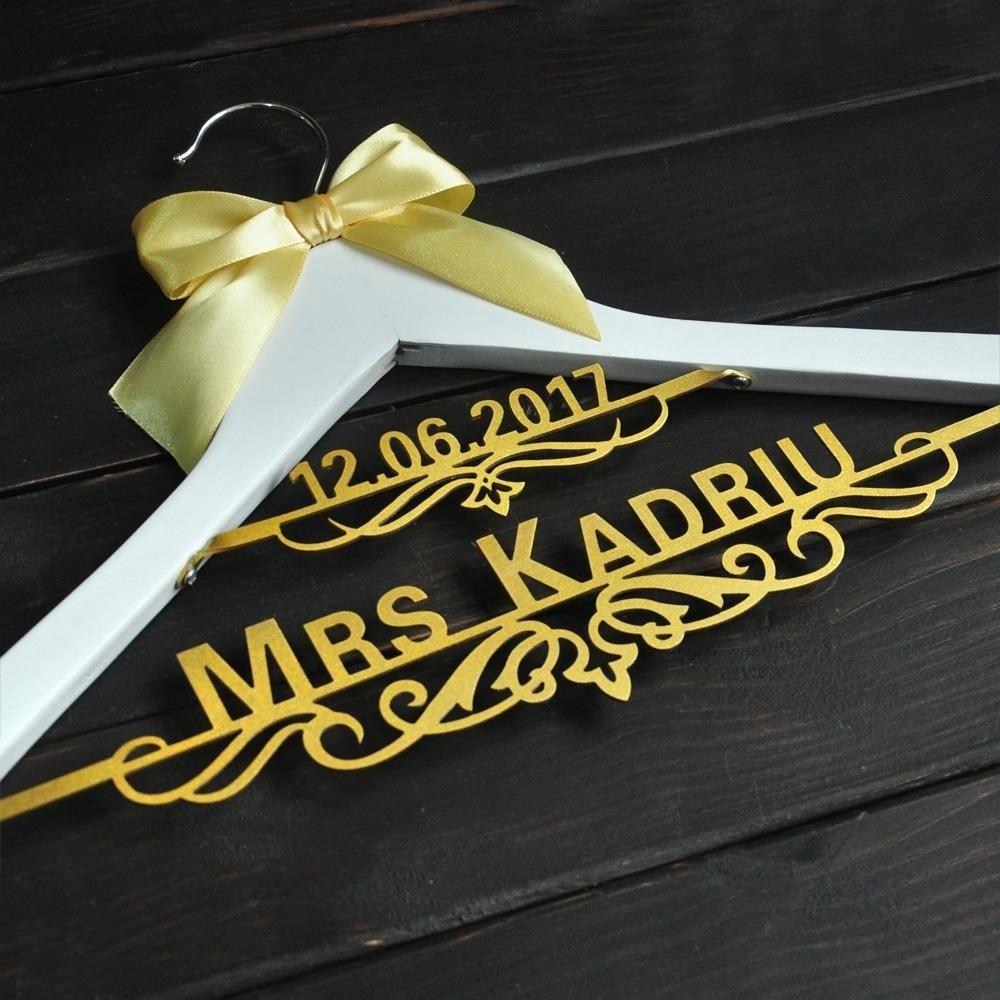 Personalized Wedding Dress Hanger Bridal gift LL009 Custom dressing hanger