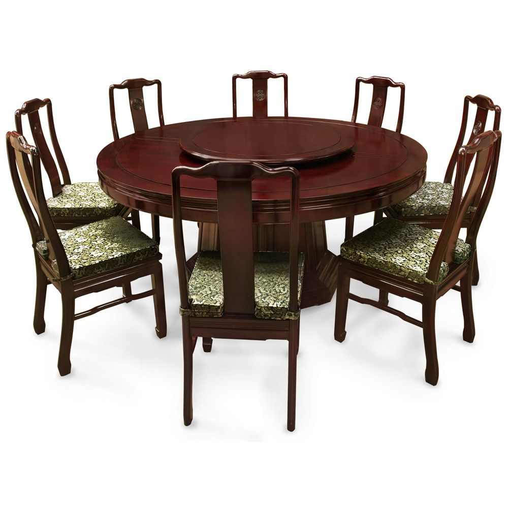 66in Rosewood Longevity Design Round Dining Table With 8 Chairs