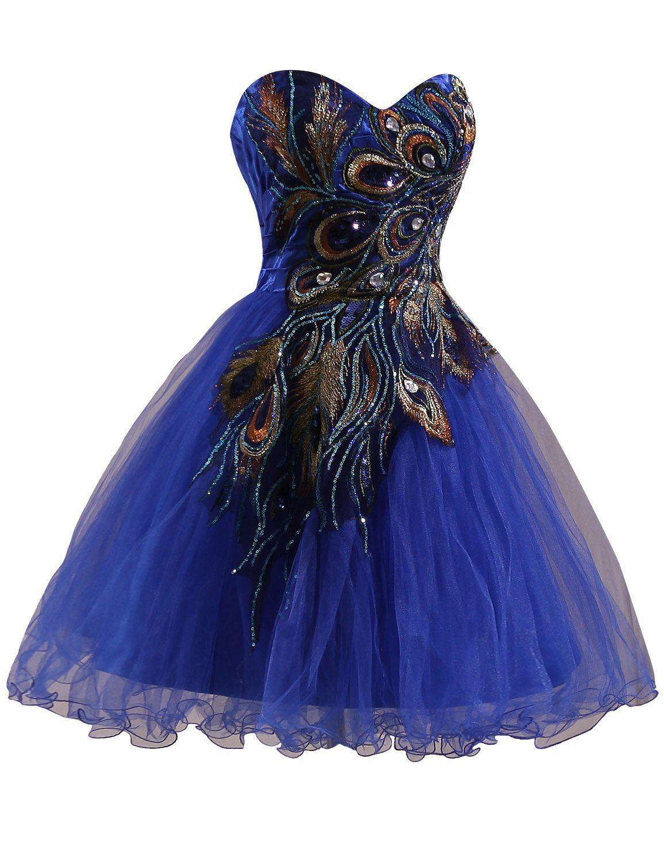 Royal Blue Peacock Prom Dress