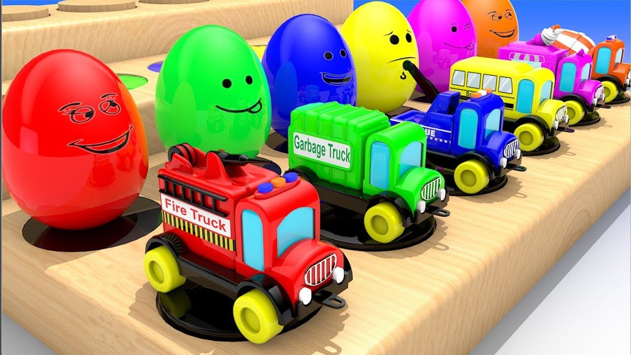 Learn Colors Street Vehicles Names For Children With Surprise Eggs Col Preschool Kids Rhymes For Kids Preschool Games