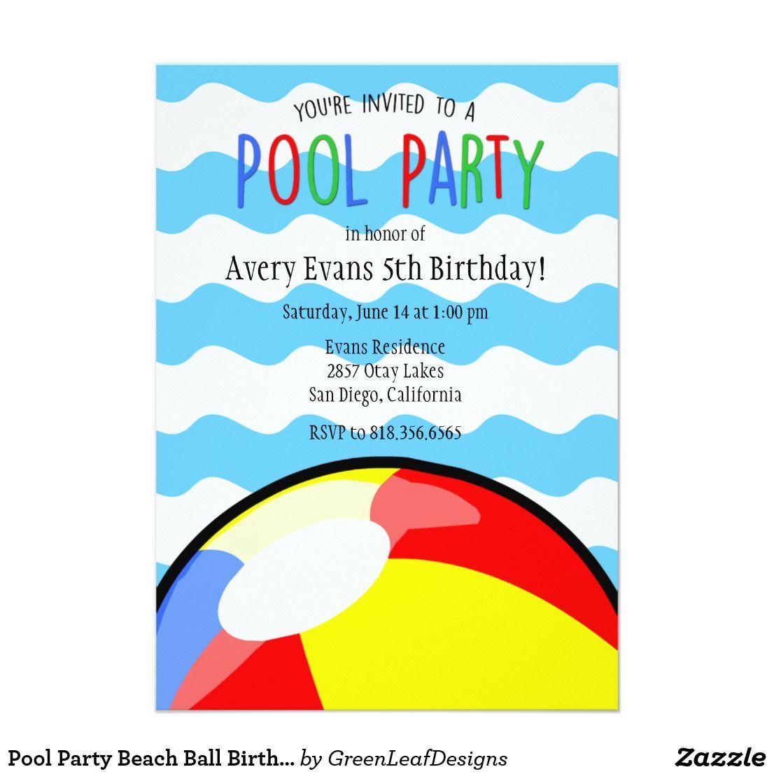 Pool Party Beach Ball Birthday Invitation | Kid\'s Birthdays ...