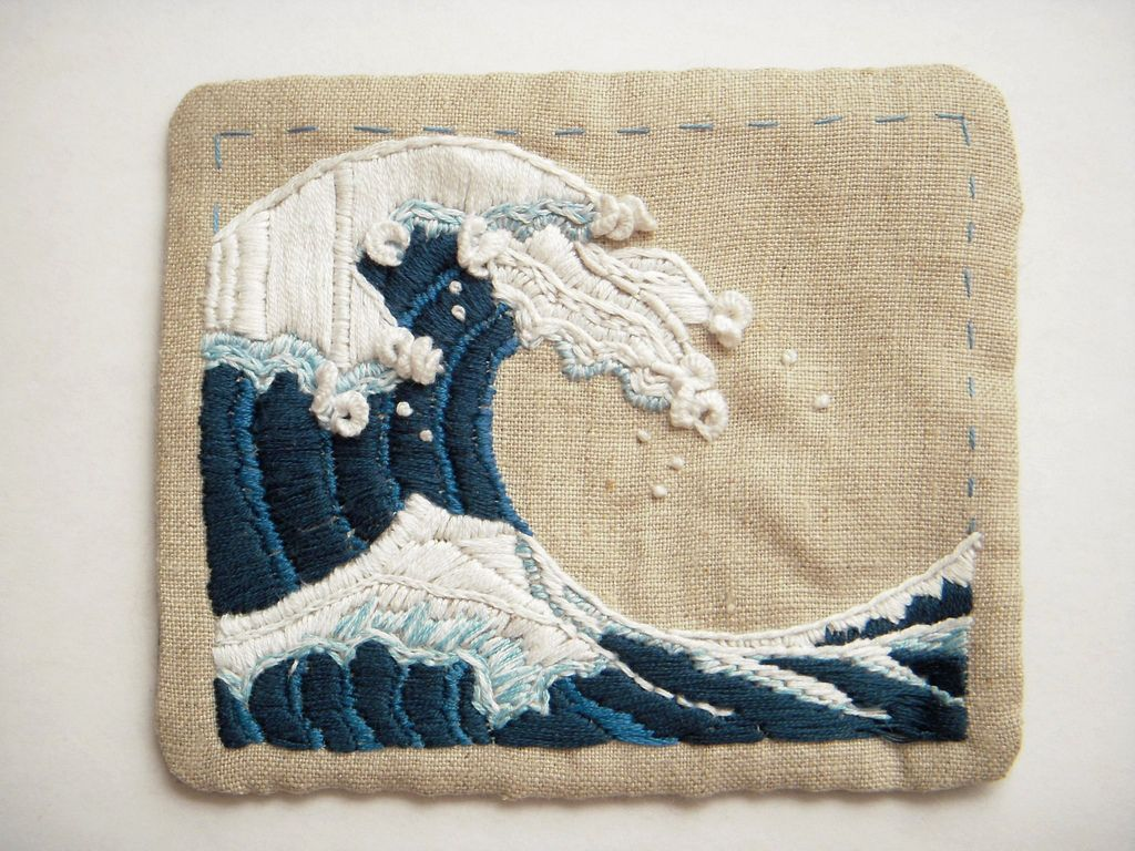 a small great wave, embroidery completed | Stricken häkeln, Weben ...