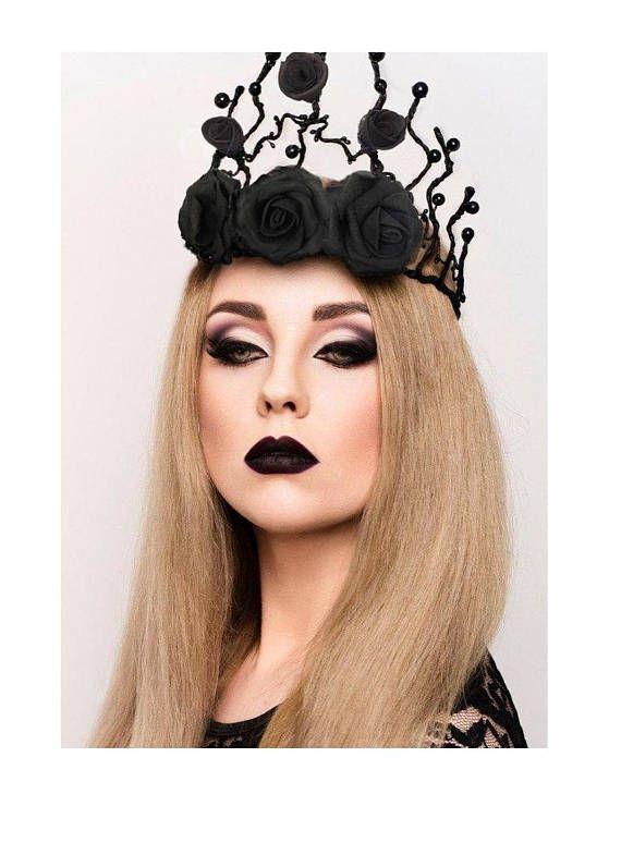 Dark Black Gothic Queens Flower Crown Hairband Headband Halloween Party Costume