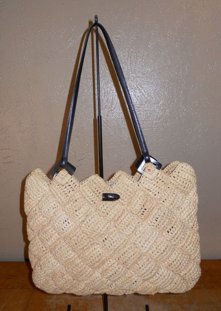 Annabel Ingall Australia Raffia Purse Tote Quilted Diamond Texture Pattern In Clothing Shoes Accessories