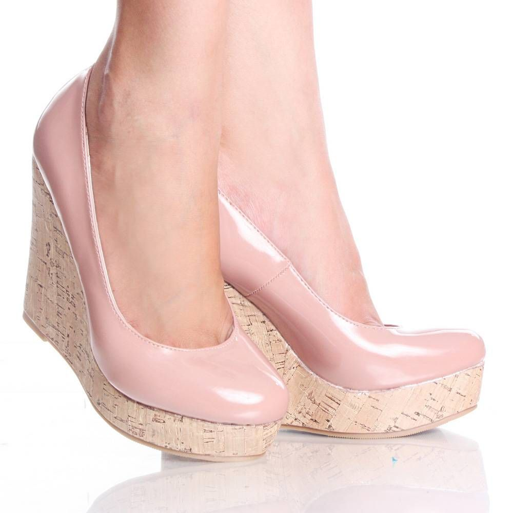 light pink patent cork platform wedge heel dress